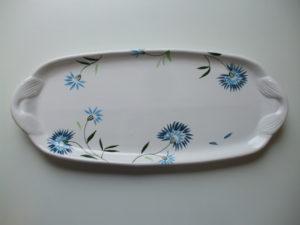 Plat à cake en céramique bleuet