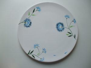 Plat à tarte en céramique bleuet